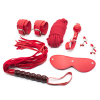 6 In 1 PU Leather Whip Flogger Wrist Cuffs Mouth Plug Eye Mask 10 Meters Rope