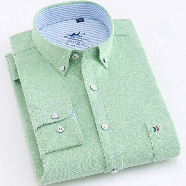 عالية الجودة رجل قمصان قميص قطني بكم طويل بلون فاخر الرجال قميص المهنية الأخضر الأبيض الذكور الملابس kamas دي Hombre