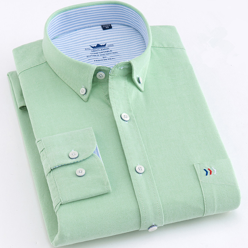 High Quality Man Shirts Cotton Long Sleeve Solid Color Luxury Men's Vocational Shirt Green White Male Clothes Camisas De Hombre
