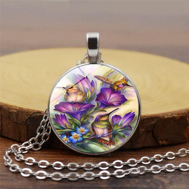 Blue Hummingbird Necklace Hummingbird Pendant Glass Bird Art Glass Cabochon Necklace. Mens necklace Hot Sale