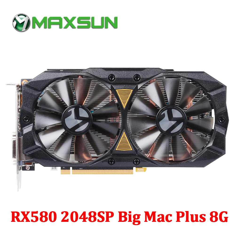 MAXSUN graphic card rx 580 2048SP Big Mac Plus 8G GDDR5 256bit AMD 7000MHz 1168MHz-1284MHz HDMI+DP*3+DVI RX580 video card for PC