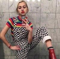 GEZOUR 2018 new retro old school hiphop style black and white plaid mosaic checkerboard lattice overalls bodysuit women jumpsuit