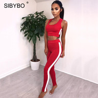Sibybo Striped Tracksuit Women 2 Pieces Set Outtwear Sweatsuit Casual Tracksuit Sleeveless Tank Top Pants Women
