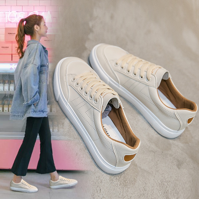 Spring Leather Shoes for Women Solid Color Female Sneakers Basic Style Musthave Students Casual Shoes All Match Lace Up 35-40 casual style 1 2 sleeve stand up collar solid color women s blouse