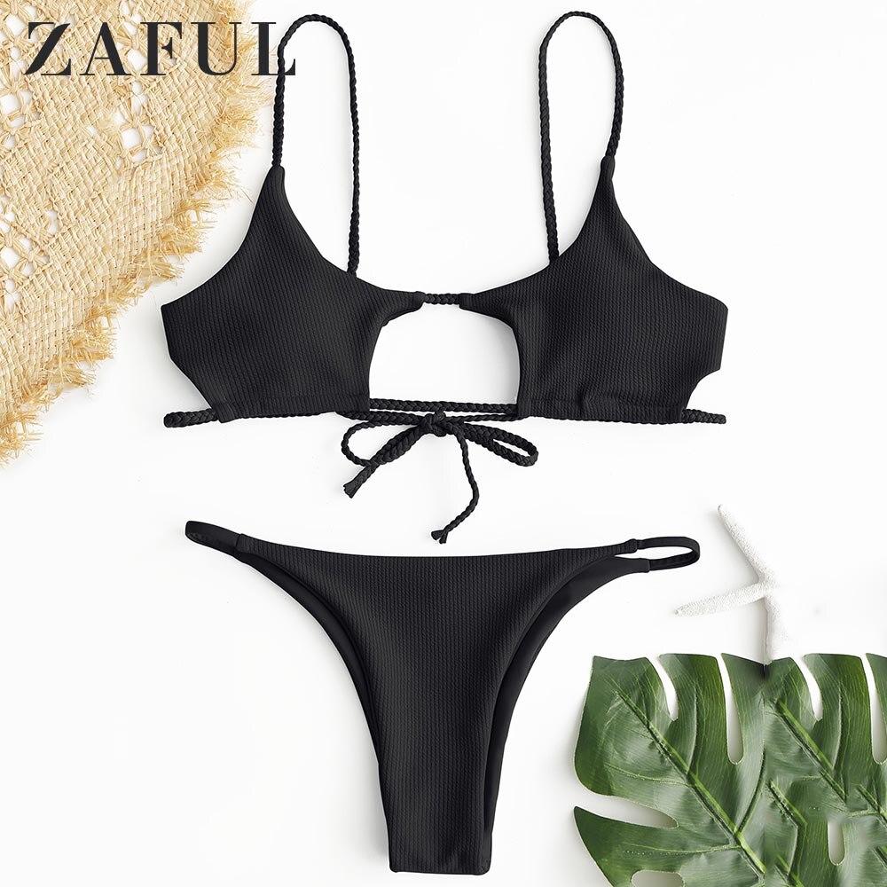 ZAFUL Bikini Braided Ribbed Cutout Bikini Set Spaghetti Straps Low Waisted Solid Swimsuit Women Swimwear Sexy Bathing Suit