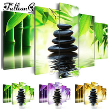 FULLCANG diy 5 pieces diamond painting bamboo and black stones full square/round drill 5d cross stitch embroidery kits FC841