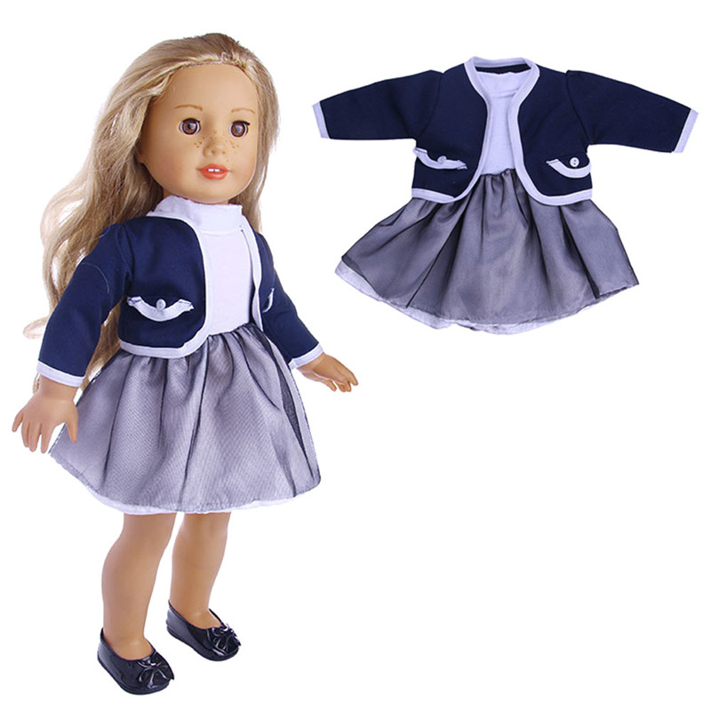 2018  Baby Born Cloth Lovely Cute Doll Pleated Dress With Jacket  For 18'' inch Our Generation American Girl Doll Clothes Toy cute 18inch baby born doll shoes for american girl dolls baby born doll clothes accessories fashion handmade sneakers doll dress
