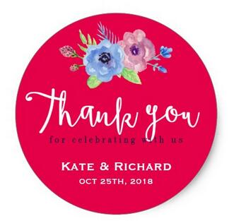 1 5inch Pink Script Font Fl Wedding Thank You Sticker