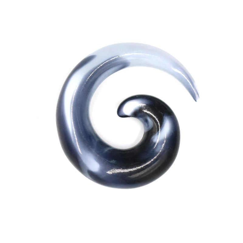 2 uds. Punk negro acrílico espiral carne túnel oreja extensor expansor enchufe estiramiento Caracol tornillo Piercing joyería del cuerpo