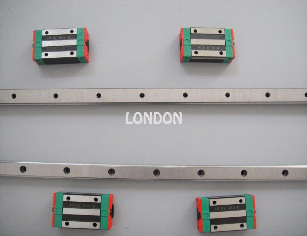 2 pezzi Taiwan HIWIN binario HGR30 - Guida lineare 400mm + 4 pezzi HGH30CA Trasporto parti CNC
