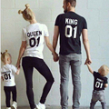 2016 Summer Family Matching Outfits Mother Father Baby Letter printed Short sleeve T-shirt  Family Matching Clothes Family Look