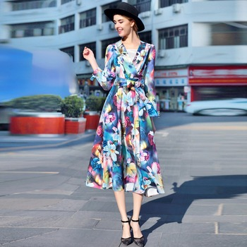 Best Quality 2017 Spring Latest Fashion A-Line V-Neck Full Sleeve Flowers Printed Sashes Bow Mid-Calf Long Dress Women a-line