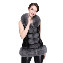 DHL Natural Fox Fur Collar Real Mink Fur Vest for Woman Fur Waistcoat Mink Coats Women