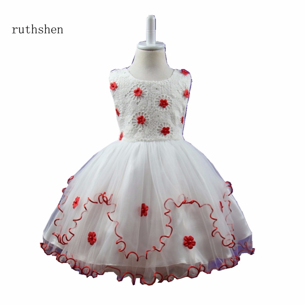 ruthshen Baby   Girls   Pink Red Purple White In Stock Real   Flowers     Girl     Dresses   With   Flowers   Lace vestido de princesa novia 2018