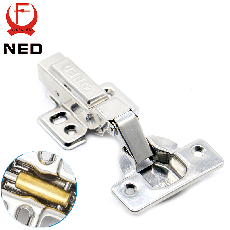 4PCS NED Super Strong 40MM Cup Hinges Stainless Steel Hydraulic Copper Core Hinge For Cupboard Cabinet Door Furniture Hardware 2pcs set stainless steel cabinet closet door hinges 90 degree self closing furniture hardware cupboard hinges