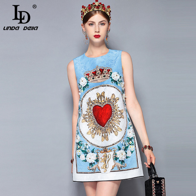 79e5ef9335be8 US $49.29 15% OFF|Aliexpress.com : Buy LD LINDA DELLA New 2018 Fashion  Runway Summer Dress Women's Sleeveless Casual Flower Appliques Crystal  Beading ...