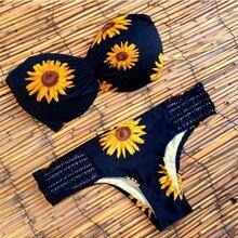 2017 Sexy Swimwear Womens Sunflower Prited Bikini Set Wrap Chest Padded Bra Swimsuit Bathing Suit Beach maillot de bain femme