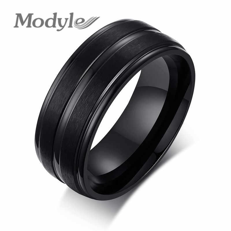 Modyle 2019 nuevos anillos Punk para hombre negro 316L anillos de acero inoxidable para hombres encanto joyería masculina Dropshipping