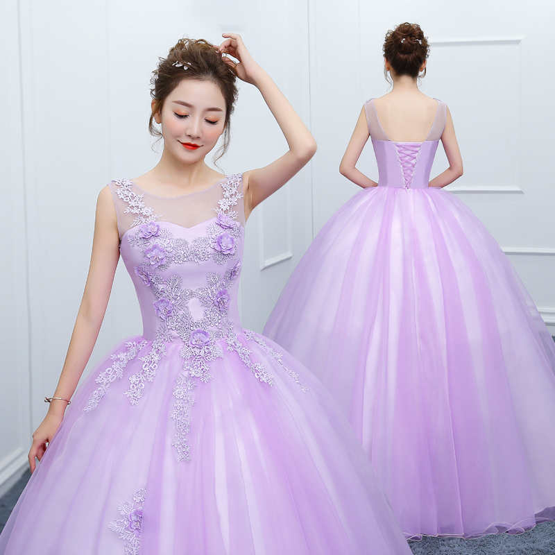 New Light purple long floor length sweat lady girl women princess  bridesmaid banquet party ball dress a957bbe11343