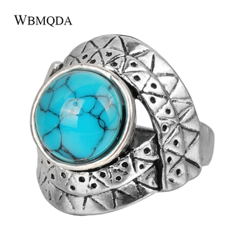 Joyería tibetana, anillos étnicos con textura de ojo en forma de Color de plata para mujer, anillo de piedra azul y rojo Vintage, novedades de 2018