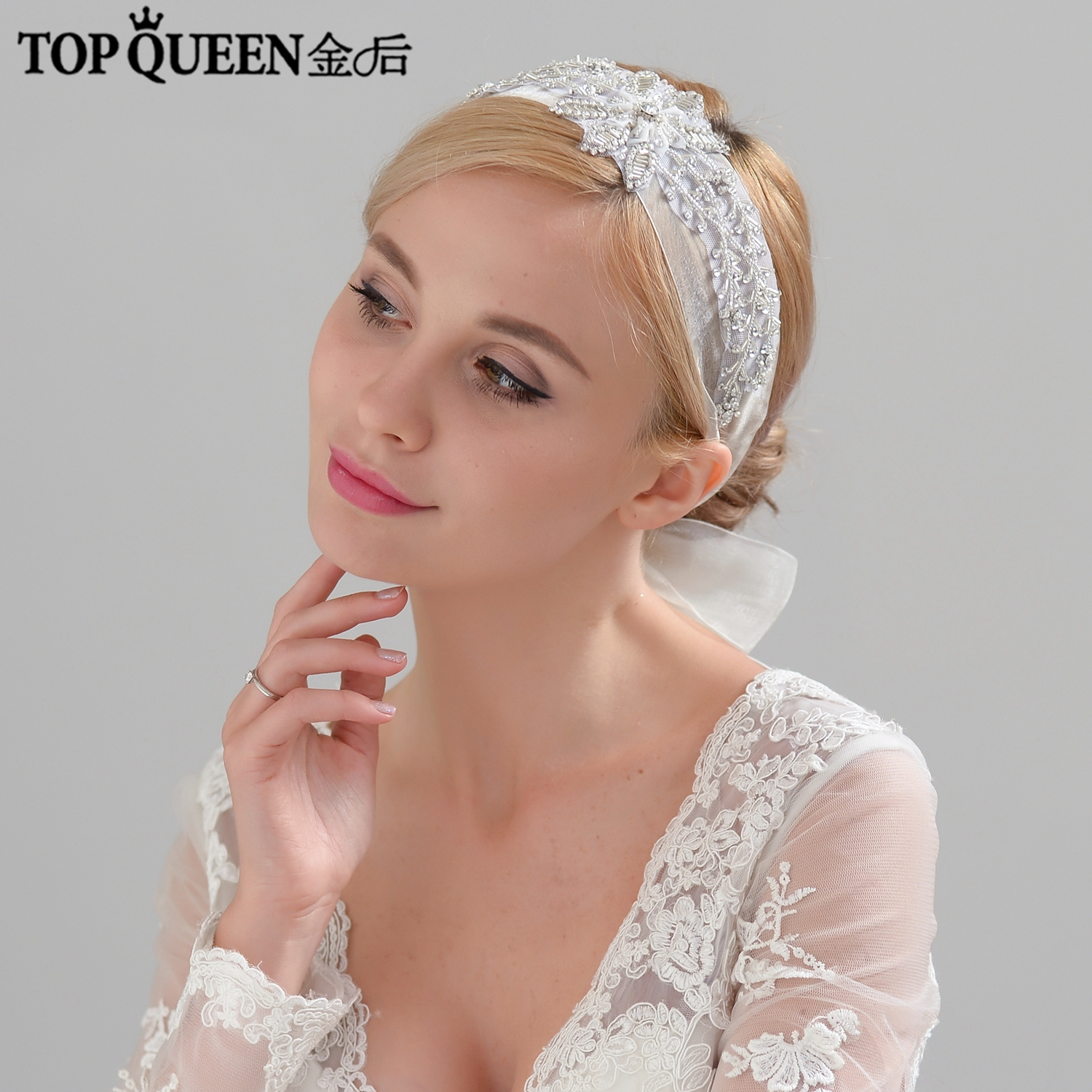 TOPQUEEN H289 Wedding Handmade wide lace hairpiece Beaded Big Flowers Hairband Bridal Headband Hair Jewelry Wedding Accessories