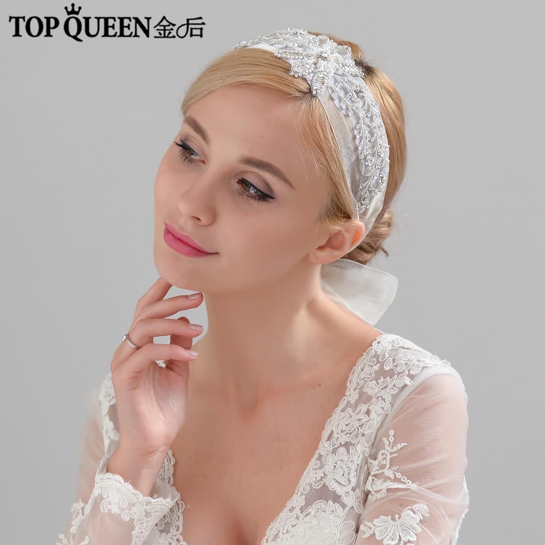 TOPQUEEN H289 Wedding Handmade wide lace hairpiece Beaded Big Flowers Hairband Bridal Headband Hair Jewelry Wedding Accessories