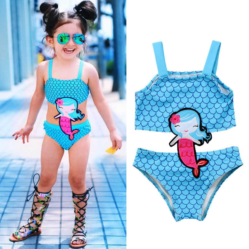 Hot Kids Baby Girls Mermaid Swimwear Swimsuit Tank Tops Panties Shorts Baby Bikinis Beachwear Children Bikini Set Bathing Suit