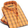 Caiziyijia verano 2017 de los hombres de manga corta camisa de algodón a cuadros orange lightwight botón-abajo clásica slim-fit camisas de vestir