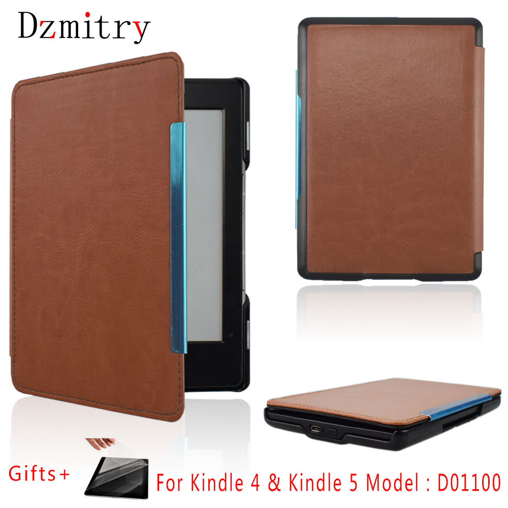 Slim PU Leather Case For Amazon Kinlde 4 kindle 5 Case high quality ebook Cover K4 K5 Model:D01100 eReader Protective shell+Film|Tablets & e-Books Case| |  - title=