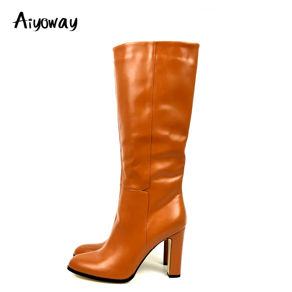 Women Knee High Boots Round Toe Square Heel Boots Brown Shoes Woman Plus Size 20