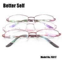 Better Self F6017 Half Rim Spectacles Metal Eye Glasses Thick Gold Eyewear Frames Decorate Eyeglasses Women Glasses Optical