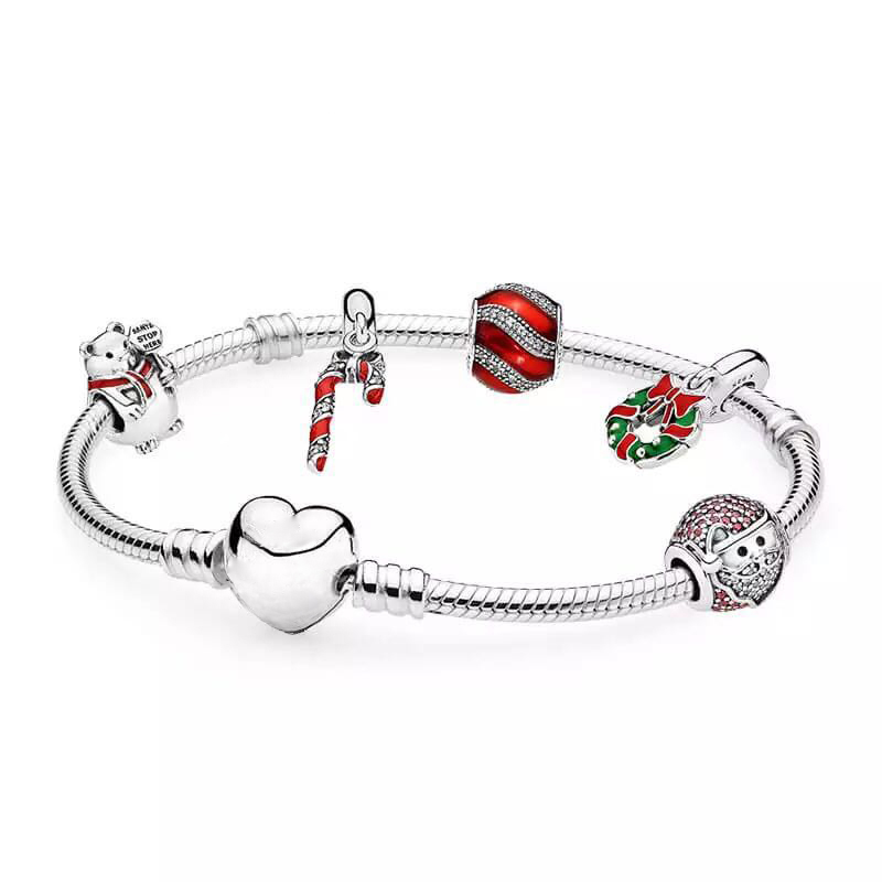 NEW 925 Sterling Silver Sparkling Surprise & Twinkling Christmas Old Man Charms Fit Bracelets & Clear CZ Women DIY Gift