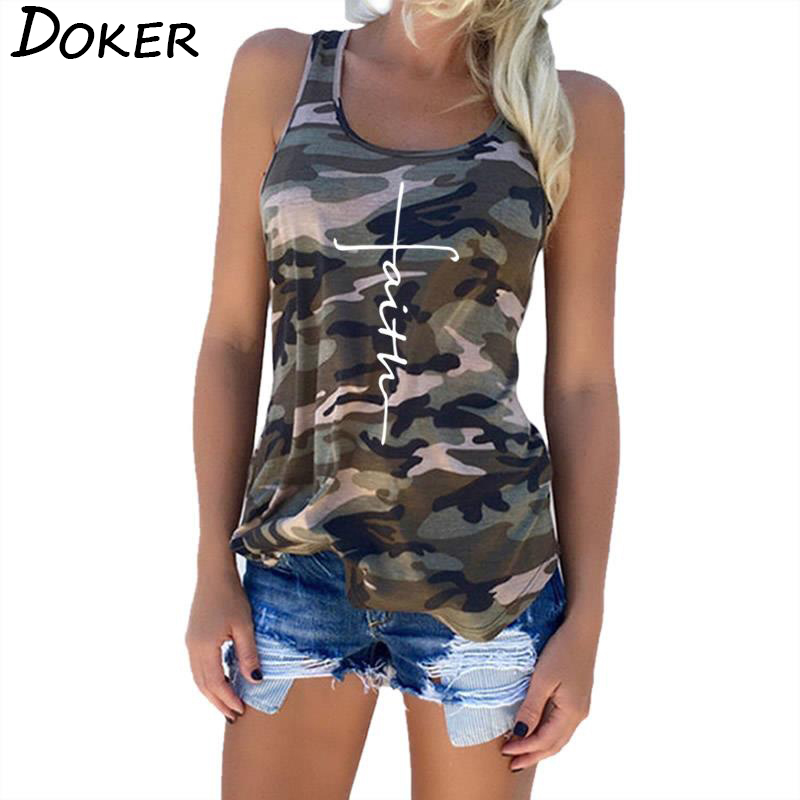 doker 5XL 2019 Summer Women Camouflage Tank Tops Casual Faith Letters Print