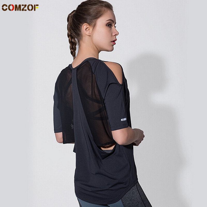 Backless women mesh patchwork yoga shirt loose quick dry sport running shirts womens fitness gym tops clothing camisetas mujer