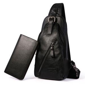 Image 3 - حقيبة كتف مفرد للرجال ذات جودة عالية مصنوعة من جلد البقر حقيبة ظهر بحمالة رافعة