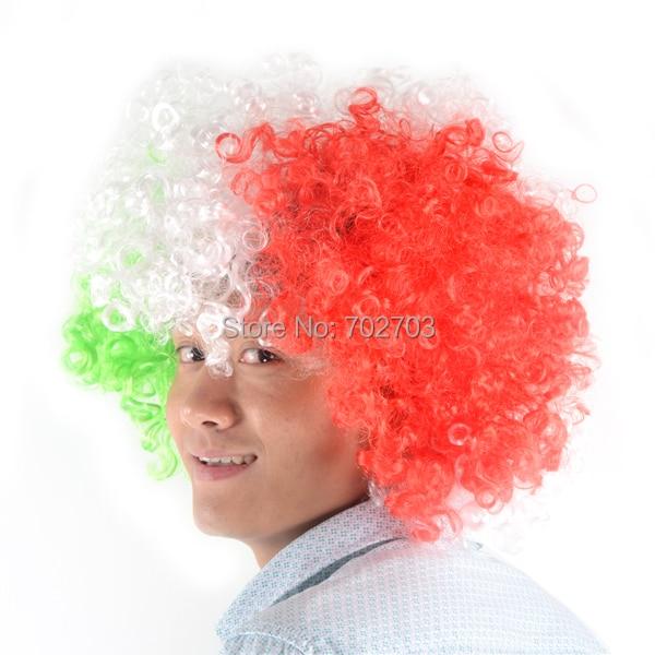 Dla dorosłych i dzieci Wielokolorowe krótkie kręcone włosy Afro Halloween Fantazyjne karnawałowe peruki cosplay party fani piłki nożnej Peruka