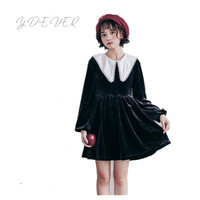 Japanese Harajuku Velvet Dress Women Gothic Cute Girl Little Black Dress Cosplay Party Lolita Kawaii Sailor Long Sleeve Dress