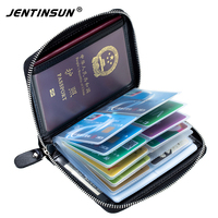 Rfid Kart Sahibinin Hakiki Deri Rfid Cüzdan Koruma Kredi Kartı Tutucu Seyahat Cüzdan Çok Fonksiyonlu Bilet Pasaport Tutucular