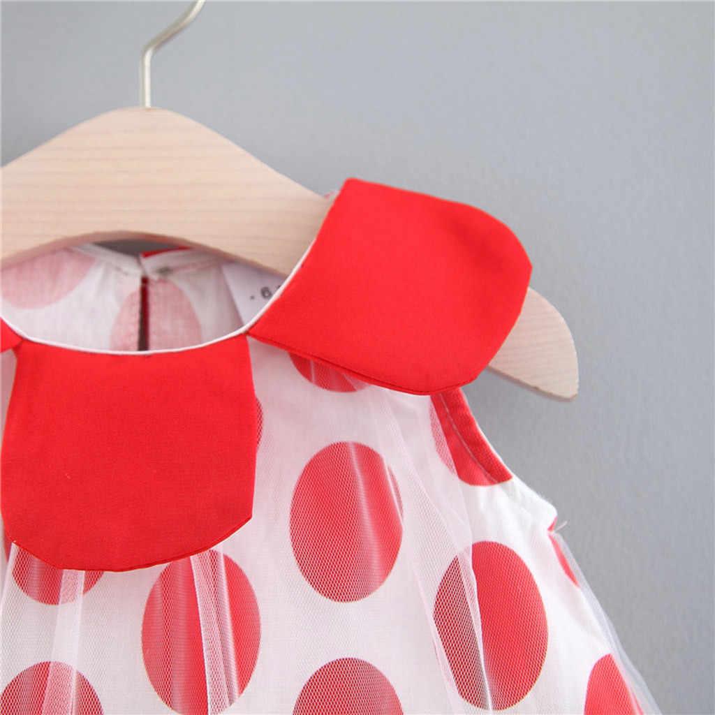Anak Perempuan Gaun Putri untuk Bayi Dot Tulle Tutu Boneka Kerah Baju Pesta Ulang Tahun Pakaian Vestidos VERANO BEBE