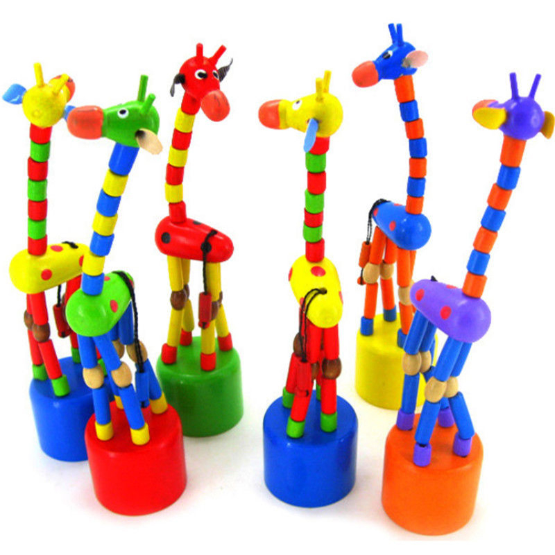 Baby Kids Wooden Toy Developmental Dancing Standing Rocking Giraffe Gift Toys SH