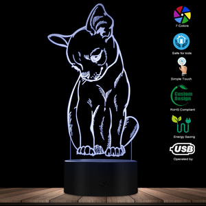 Image 3 - Cute Little Dog Chihuahua Breed Portrait 3D Optical illusion Night Light With Color Changing Animal Pet Puppy Bedroom Table Lamp