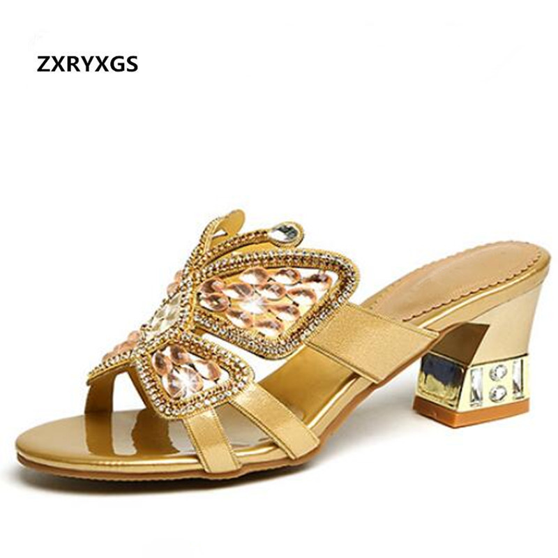 ZXRYXGS Brand Shoes Woman Rhinestone Sandals Slippers 2019 New Summer Women Shoes Fashion Sandals Genuine Leather