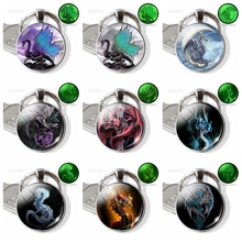 Luminous Keychain Wings of Dragon Glass Cabochon Metal on Moon Keyring Glow In The Dark Key Pendant Gift for Men