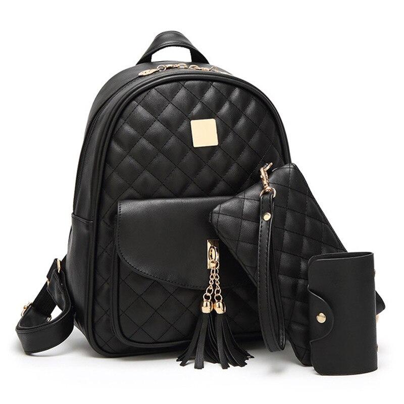 3 Sets School Bags For Teenage Girls New 2019 Women Backpack PU Leather Ladies Shoulder Bags Book Bag Black Backpacks Bagpack