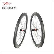 De Gama alta!! Farsports 50mm de carbono ruedas de bicicleta 20.5mm 23mm 25mm de ancho ruedas de bicicleta de carretera de carbono con hubs DT y Sapim radios