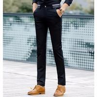 Autumn Solid Business Suit Pant Navy Black Men Formal Pants Regular Cotton Male Arfar Zipper Soft