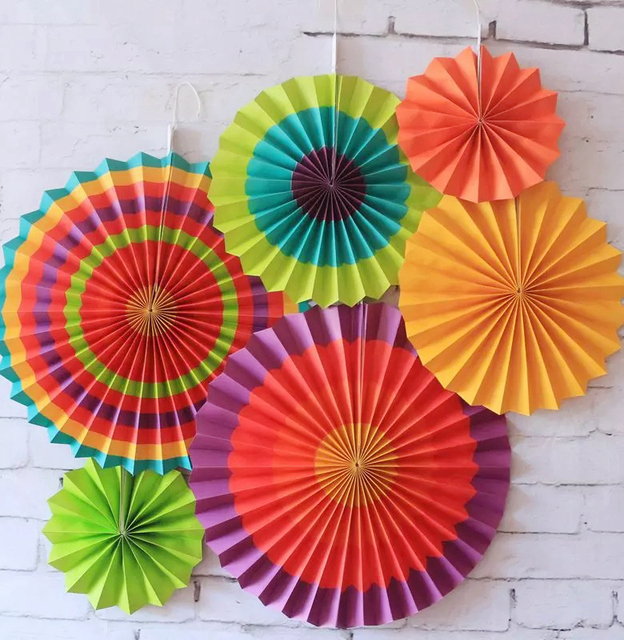 6pcs Tissue Paper Fan Party Decorations Hanging Flower Paper Crafts