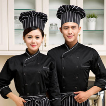 high quality 2017 long-sleeved Chef service Hotel working wear Restaurant work clothes Tooling uniform Black &white side Tops(China)