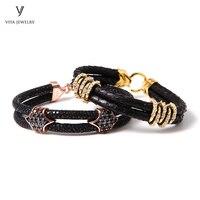2 Pcs Black Leather Silver Men Bracelets Customize Luxury Python&Stingray Leather Cords Bracelets Best Friendship Gift With Box