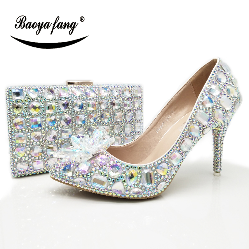 BaoYaFang New arrival AB crystal Womens wedding shoes with matching bags  Pointed Toe crystal flower Bride af0dbb4ccd14